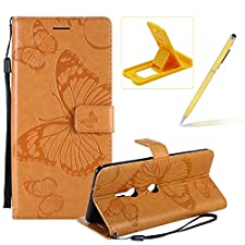 Strap Leather Case for Sony Xperia XA3,Wallet Leather Case for Sony Xperia XA3,Herzzer Premium Stylish Pretty 3D Yellow Butterfly Printed Magnetic Soft Rubber Stand Case with Card Slots