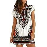 R-Cors Damen Casual T-Shirt Kleider Lose Swing Kleider Kurzarm V-Ausschnitt Sommerkleider mit Taschen