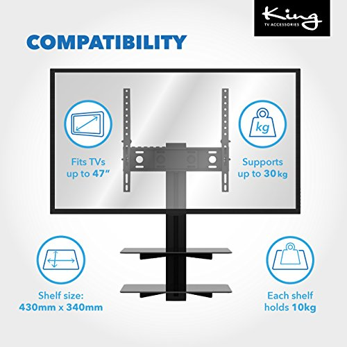 King Tilt   Turn TV Wall Mount Bracket With AV Wall Floating Shelf Black Glass Shelves Perfect For Sky Box  PS4  Xbox DVD - up to 47