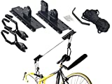 AGT Fahrradaufhängung: Platzsparender Fahrrad-Aufhänger mit komfortablem Liftsystem, bis 20Kg (Fahrradaufhängung Garage)
