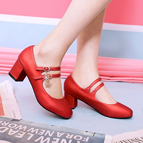 Mee Shoes Damen süß chunky heels Ankle strap Pumps Rot