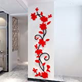 Red : Bismarckbeer 3D Romantic Rose Flower Removable PVC Wall Stickers Home Decal Living Room Decor (Red)