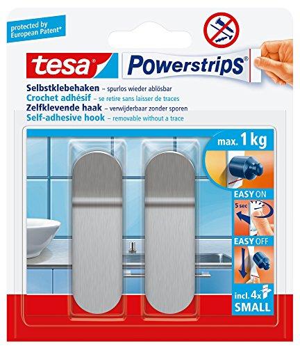 Tesa Powerstrips Haken (Small Metall) silber-matt