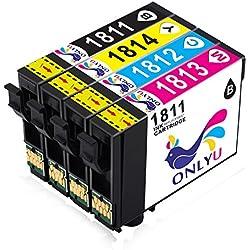 ONLYU 20-Pack Compatible Epson 18XL T1811 T1812 T1813 T1814 Cartucho de tinta para Epson Expression Home XP-30 XP-33 XP-102 XP-202 XP-205 XP-212 XP-215 XP-225 XP-302 XP-305 XP-312 XP-315 XP-322 XP-325 XP-402 XP-405 XP-405WH XP-412 XP-415 XP-422 XP-425 (8B4C4M4Y)