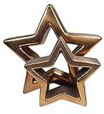 khevga Deko Weihnachten: Stern Metall in kupfer / roségold 2er Set