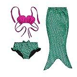 3 Pezzi Ragazze Marmaids Sirena Costume da Bagno Swimsuit Swimwear Bikini Set Monopinna 3-12 anni (110(5-6Y), Green)