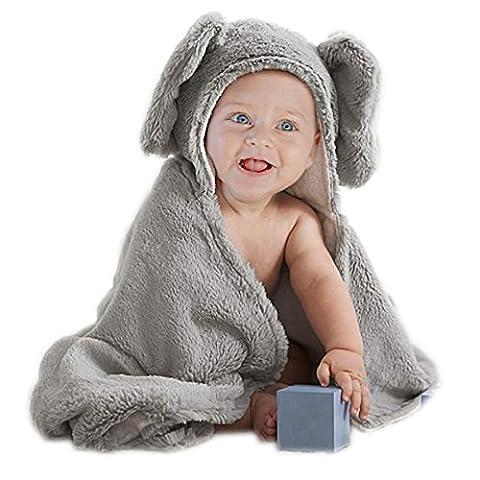 Babyplix Gris Carton éléphant bébé en peluche à capuche Coton Serviette 75x 75cm pour un nouveau-né d'enfant