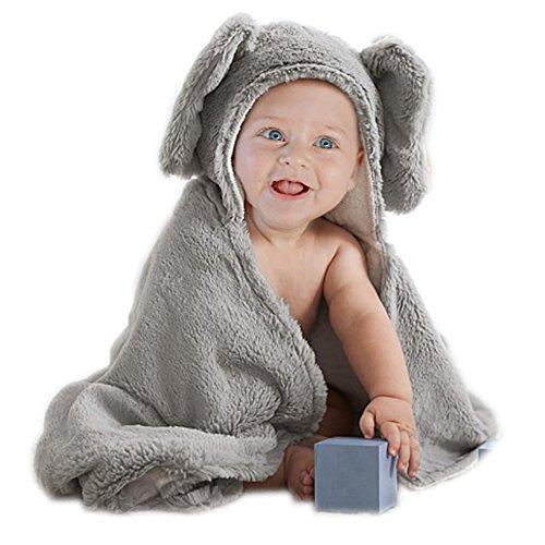 tuch für Babys, Baumwolle und Plüsch, Elefanten-Motiv, 75x 75cm, Grau (Kid Frosch Kostüm)