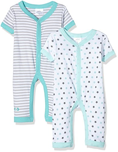 Twins Unisex Baby Spieler Kurzarm, 2er Pack, Mehrfarbig (Weiss/Türkis 3212), 74