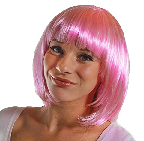 BOB WIG FANCY DRESS ACCESSORY LADIES 20'S FLAPPER PARTY HAIR SEXY COSPLAY SHORT BABE WIG IN MANY COLOURS (BABY PINK)