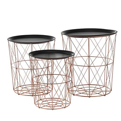 [en.casa]® Metallkörbe im 3er Set geeignet als Beistelltisch aus Metall in Kupferfarben (Bronze Set Beistelltisch)