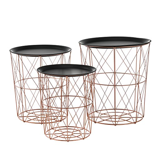 [en.casa]®] Set 3 cestas Metal mesas auxiliares Metal