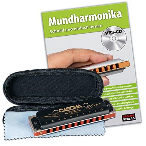CASCHA Professional Blues Mundharmonika Set, Harmonica (10-Löcher, C-Dur) mit Lehrbuch, Etui, Pflegetuch, Mouth Harp