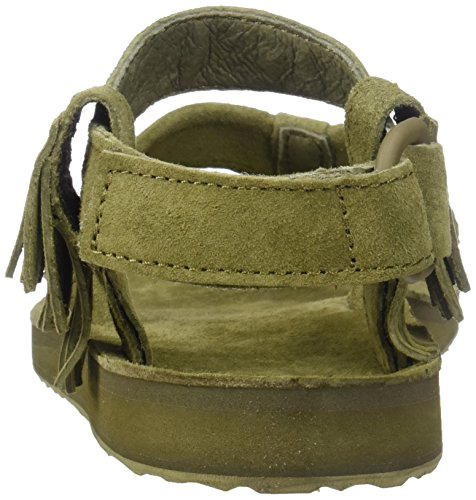 Teva Original Sandal Leather Fringe Femmes Cuir Tongs Vert olive foncé