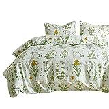 Xiongfeng Bettwäsche 135x200cm Blumen Grün 100% Microfaser 2-teilig Bettbezug & Kissenbezug 80x80cm Blättern Pflanzen Blütenmuster, Einzelbett