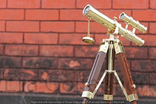 Télescope Longue-Vue Nautique Maritime en Laiton 25,4cm Double Style Antique avec Trépied en Bois.