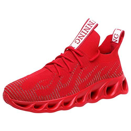 CUTUDE Herren Sneaker Casual Bequem Mesh Ultra-Leicht Atmungsaktive Lace Up Solide Sport Laufschuhe Leichte Turnschuhe Outdoor Athletisch (Rot, 43 EU)