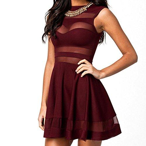 Minetom Mini Abito Maglia Vestito Pizzo Senza Maniche A-line Chiffon Dresses - Donna ( Rosso EU S )