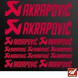 Brett 12Sticker Aufkleber Akrapovic Auspuff Anlage–Rot–Sticker, selbstklebend, Motorrad, Bike, Kit, Deco, Tuning, Decal, gt-design, GT Design, gtdesign