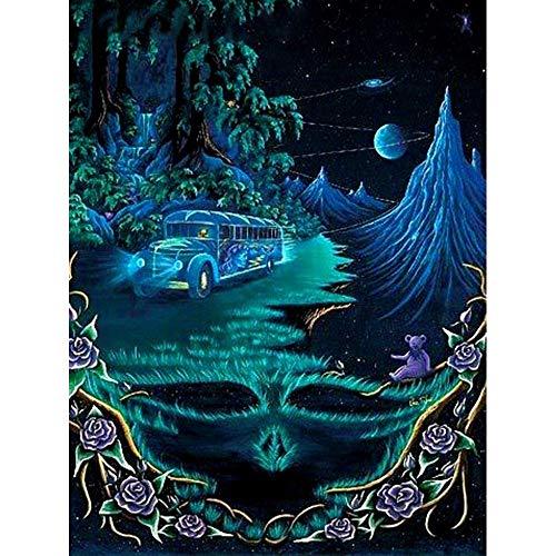 iamant Mosaik Halloween DIY Stickerei Maske Wald Voll Bohren Bild Von Strass Dekor Hause,60X80cm ()