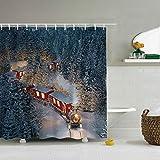 SEnjoyy Weihnachtsbaum Duschvorhang Anti-Schimmel Anti-Bakteriell Digital Gedruckt Badvorhang Badezimmer Weihnachten Duschvorhang 180cm*180cm Weihnachten Dekoration
