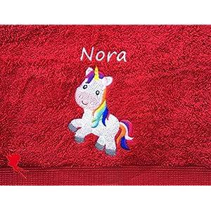 Einhorn Handtuch bestickt mit Motiv und Name