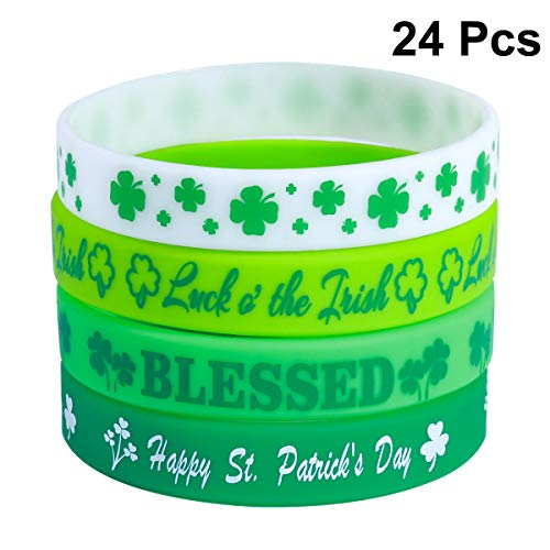 trick's Day Armband Armreif Shamrock Armbänder Silikon Armband Set St. Patrick's Day Dekorationen Armband Kostüm Zubehör für St. Patrick's Day Party Supplies ()