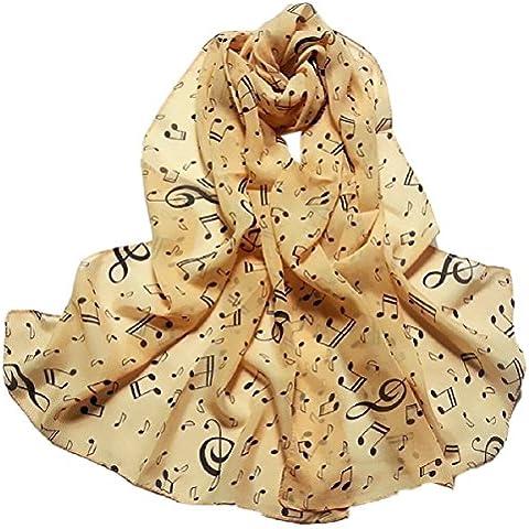 Tongshi Bufandas 1PC señora de las mujeres de la nota musical de la gasa del cuello de la bufanda del mantón del