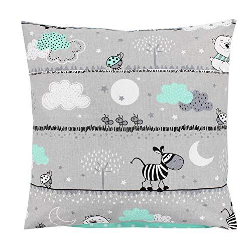 TupTam Kinder Kissenbezug Dekorativ Gemustert, Farbe: Bärchen Mint, Größe: 40 x 40 cm