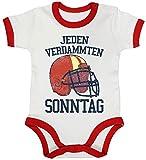 American Football Gruppen Fan Ringer Strampler Baumwoll Baby Body kurzarm Jungen Mädchen Jeden verdammten Sonntag 2, Größe: 12-18 Monate,White/Red
