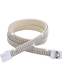 Morella Damen Wickelarmband zweireihig mit Zirkoniasteinen und Magnetverschluss