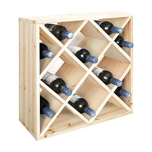Weinregal / Flaschenregal System Modul RAUTEN für 20 Flaschen, Holz Kiefer natur, stapelbar /...