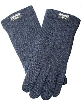 EEM Damen Strickhandschuhe FREYA mit Zopfmuster und Thinsulate™ Thermofutter, 100% Wolle, Winterhandschuh