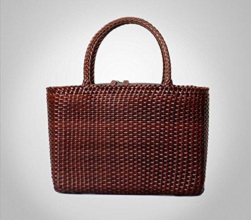 DJB/Taschen/Woven quadratisch//slub-Gewebe mit der Tasche/Taschen/Leder, Kaffeebraun