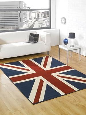 "Buckingham Great Britain Flag Union Jack Design Blue Red White Rug 120 x 160 cm (4' x 5'3"") Carpet"