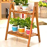 Estante de madera de la flor, estante del pote de la planta para el uso del jardín de interior y al aire libre 50 * 30 * 60 cm , Brown