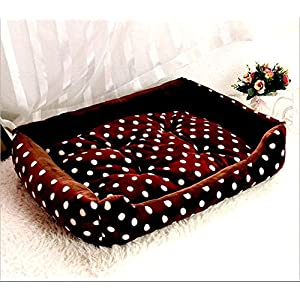 Gorgeous Reversible Velvet Ultra Soft Dual Square Shape Sofa-Style Dog,cat Bed (Brown and White Dotted)-Size : Small