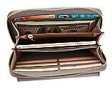 Damen Geldbörse Elegant Leder Wallet Größer Kapazität,Handtasche,Lange Portemonnaie,12 Karten, mit Handschlaufe,Vordertasche Grau