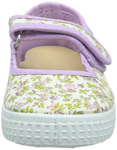 Natural World Mercedes Velcro Anillas - Mary Jane - Fille Violet (violet 13)