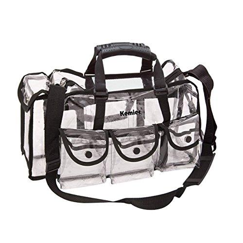 Kemier Durchsichtige Tasche Reise Make-up Tasche mit 6 Außentaschen Kosmetik Organizer mit Schultergurt Groß - Organizer Tasche Make-up
