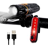 Wastou Bike Lights, Super Bright Bike Front Light, IPX6 Waterproof 6 Modes Cycling Light Flashlight Torch with USB Rechargeable Tail Light(USB Cable Included)