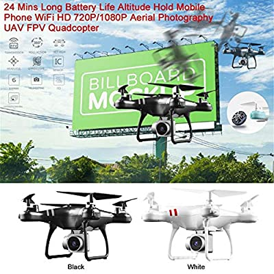 iBellete Drone HD Camera 1080P FPV Quad Copter Aerial Photographing Gravity Sensor RC Drone Altitude Hold Mobile Phone WIFI Imag 24 Mins Long Battery Life Quadcopter-Great Toy Present?Black/white