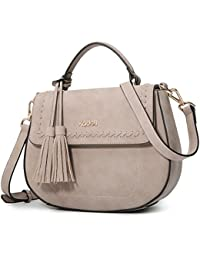 Kadell Women Leather Handbag Purse Cute Top Handle Bag With Removable Strap Grey