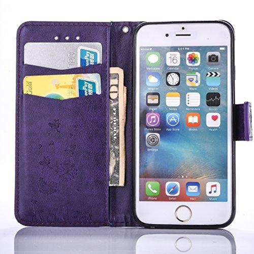 PU für Apple iPhone 6 (4.7 Zoll) Hülle,Geprägte Campanula Handyhülle / Tasche / Cover / Case für das Apple iPhone 6 (4.7 Zoll) PU Leder Flip Cover Leder Hülle Kunstleder Folio Schutzhülle Wallet Tasch 2