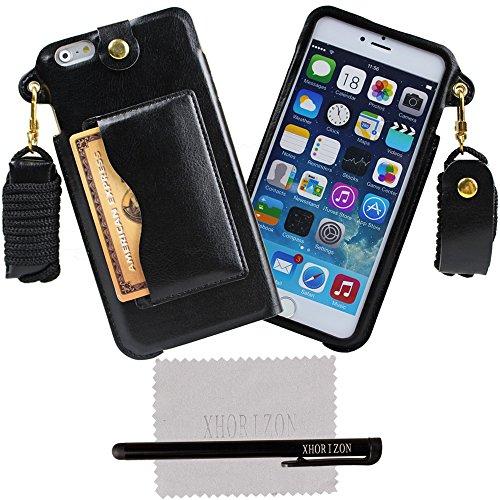 xhorizon® Tragegurt PU Leder Tasche Kartenhalter Stand Case Hülle für 5.5 Inch iPhone 6+ Plus Schwarz