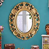 TIED RIBBONS Vintage Antique Style Home Decorative Wall Mirror Glass For Living Room Bathroom Bedroom Home Décor With High Quality Plastic Frame