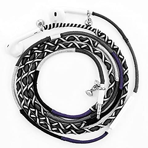 URIZONS Écouteurs Oreillettes Intra-auriculaires Telephone iPhone - Écouteurs Filaires Sonore Stéréo Anti-bruit avec Microphone avec jack 3,5mm Tissu à la main en tressage