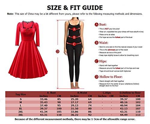 LaoZan Damen Elegant Vintage Plissee-Kleid Bowknot Swing-Kleid 3/4 Ärmel Samt Partykleid Lila
