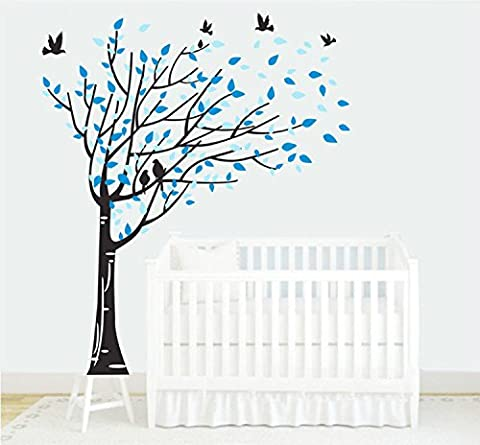 Yanqiao Vögel Fliegen Auf Baum Großer Hintergrund Aufkleber für Wohnzimmer Wanddekoration Entfernbare Vinyl Abziehbild Kunst Zuhause Dekorieren Größe 170x190cm,