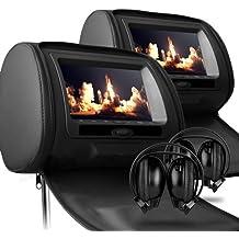 Sonic Audio HR-7-BLACK - Reposacabezas para coche con DVD insertado y auriculares infrarrojos (2 reposacabezas x 17,78 cm, piel)